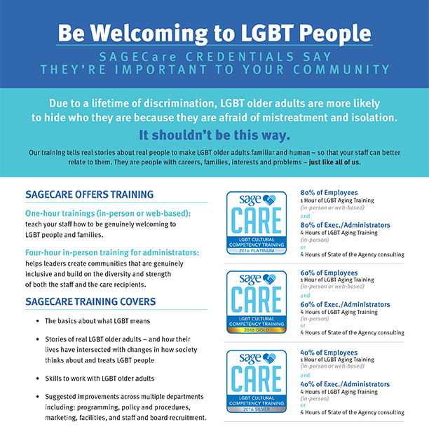 Be Welcoming to LGBT People - SAGECare Training Brochure